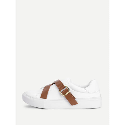 Contrast Buckle Flat Trainers - Anabella's
