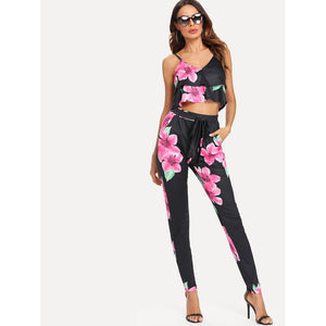 cf6bd3c1605 Floral Print Crop Cami Top With Pants