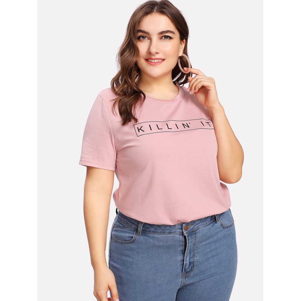 Letter Print Short Sleeve Tee PINK - Anabella's