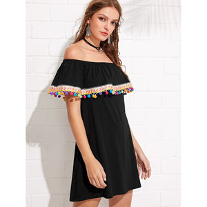 Flounce Layered Neck Embroidery And Pompom Trim Dress