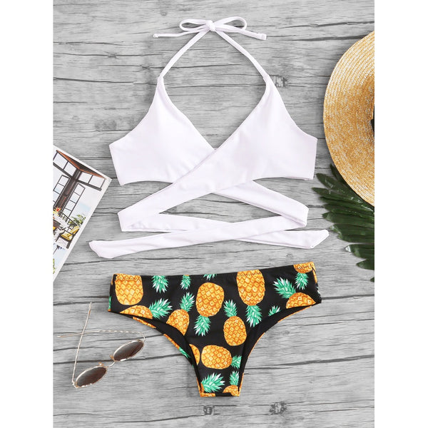 Pineapple Print Wrap Bikini Set WHITE
