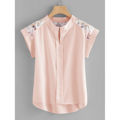 Hollow Out Lace Panel Dip Hem Blouse Pink Short Sleeve