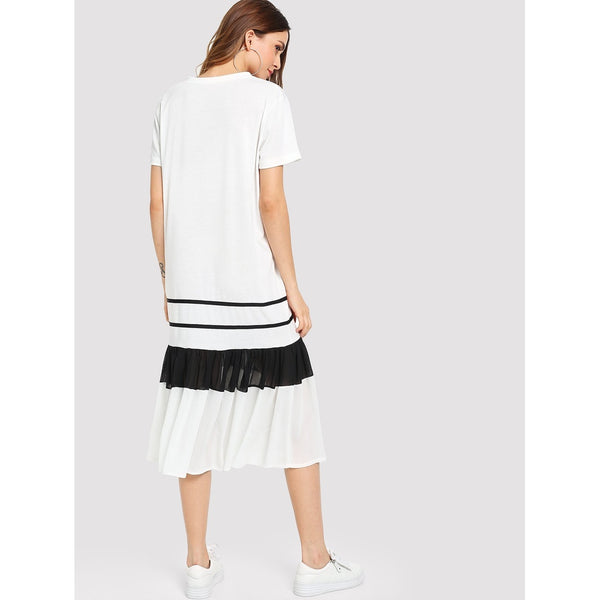 Mesh Insert Pleated Hem Dress