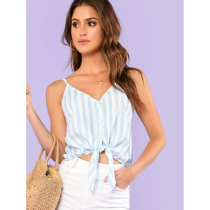 Button Placket Knot Front Cami Top BLUE - Anabella's