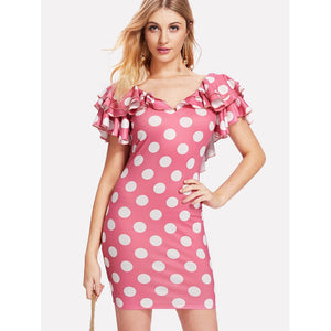 Layered Flutter Sleeve Low Back Polka Dot Dress - Anabella's