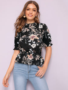 Floral Print Mock-neck Peplum Top
