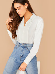 Notch Collar Solid Blouse