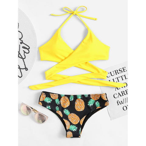 Pineapple Print Wrap Self Tie Bikini Set