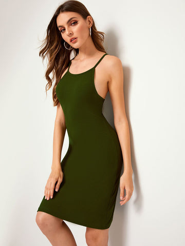 Solid Ribbed Cami Dress