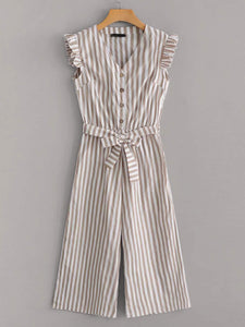 Frill Trim Tie Front Wide Leg Striped Jumpsuit