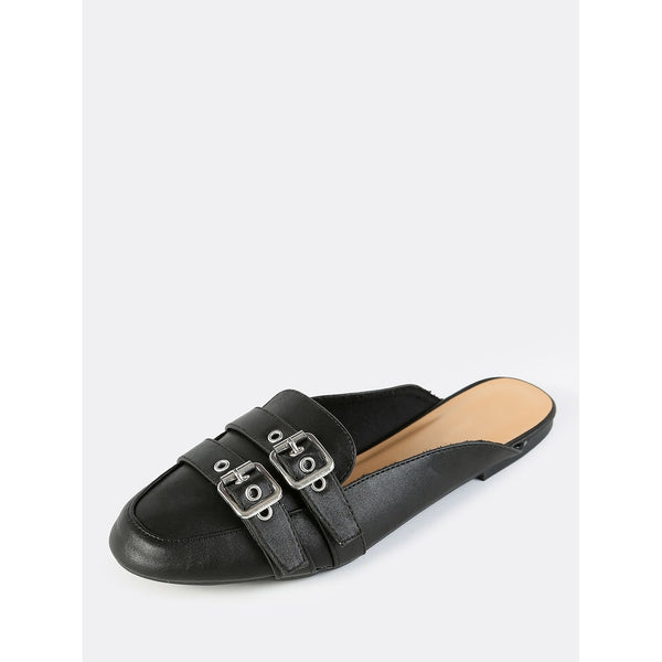 Double Buckle Backless Slip On Flats BLACK - Anabella's