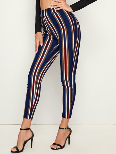Wide Band Waist Striped Skinny Pants