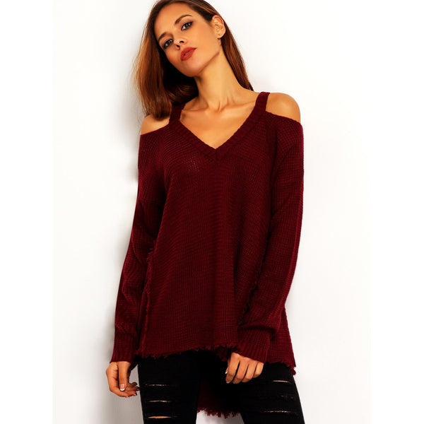 Burgundy Cold Shoulder Loose Sweater