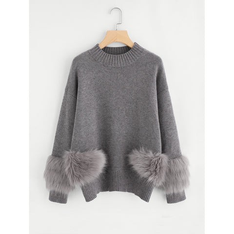 Faux Fur Detail Drop Shoulder Jumper