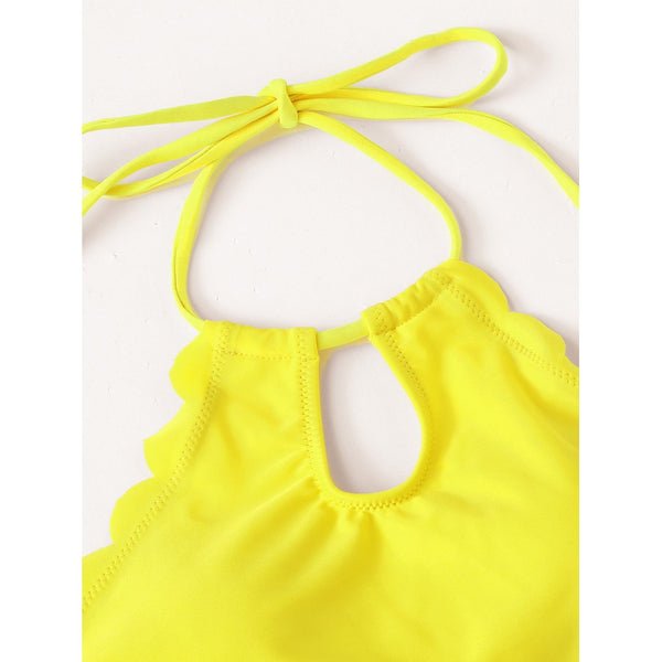 Solid Scalloped Trim Halter Bikini Set GINGER