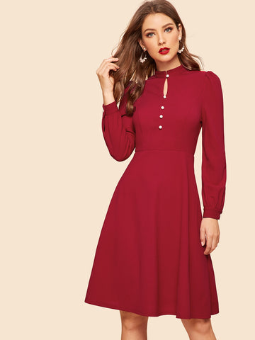 50s Button Front Fit & Flare Dress