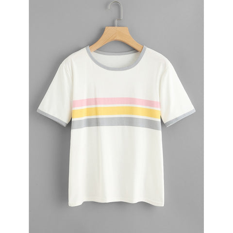 Contrast Striped Tee White Round Neck