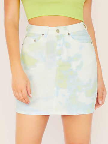 Tie Dye Mini Denim Pencil Skirt