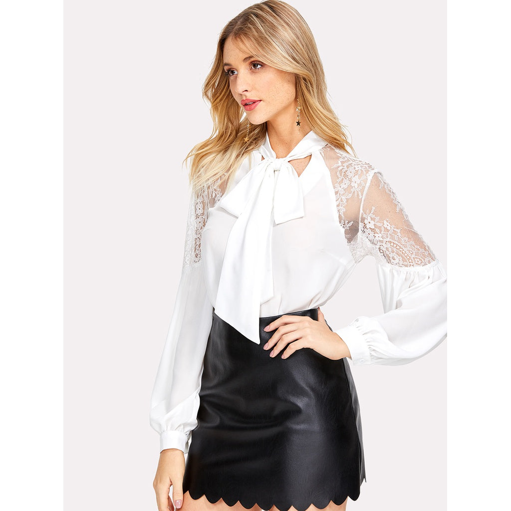 Tie Neck Lace Shoulder Lantern Sleeve Blouse White