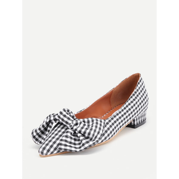 Bow Tie Decorated Pointed Toe Gingham Flats - Anabella's
