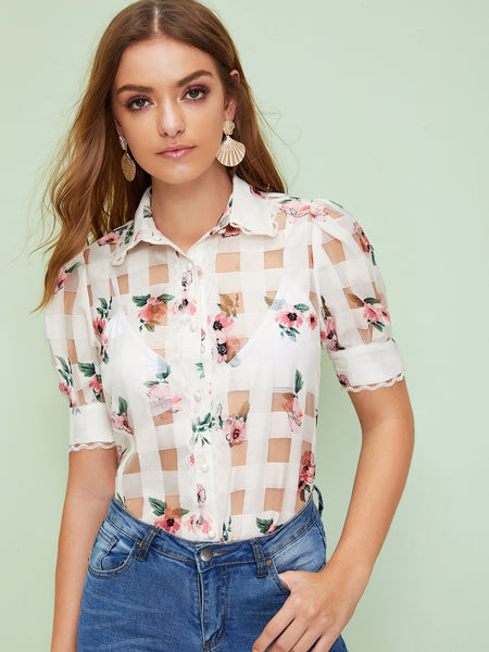Lace Trim Floral Organza Shirt Without Bra