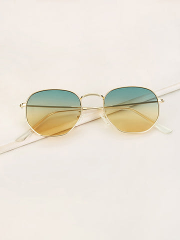 Metal Frame Ombre Tinted Lens Sunglasses
