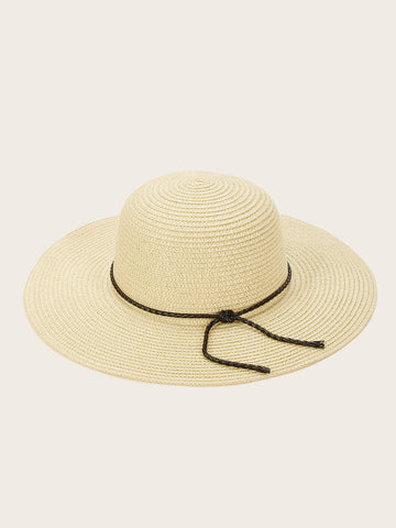 Lace-up Detail Floppy Hat