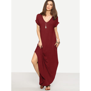 Rolled-cuff Pockets Side Split Dress