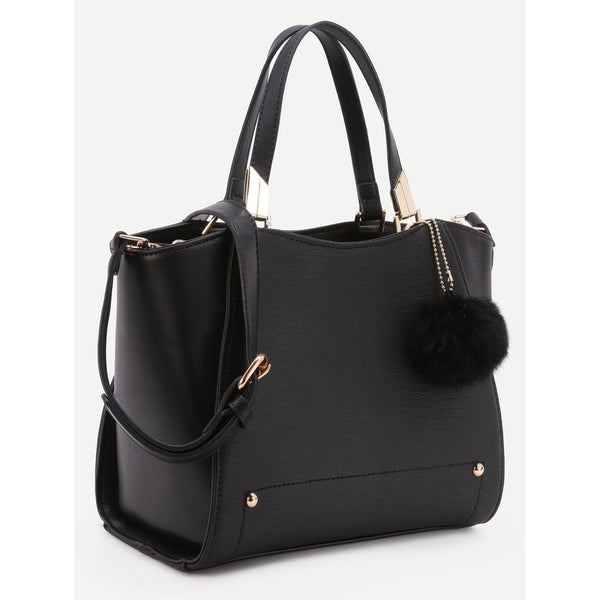 Black PU Pom Pom Trim Convertible Handbag With Chain Bag