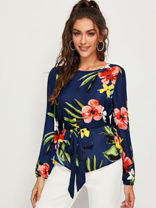 Self Belted Floral Print Top