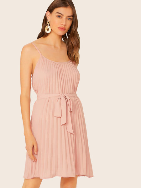 Self Belted Pleated Slip Dress