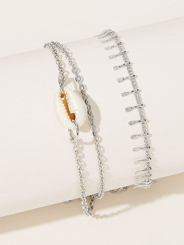 Shell Decor Chain Anklet 2pcs