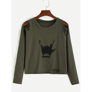 Army Green Gesture Print Distressed T-shirt