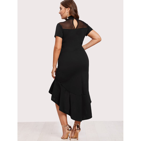 Mesh Insert Frill Dip Hem Dress BLACK - Anabella's