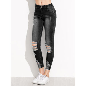 Distressed Rip Knee Skinny Ankle Jeans Black