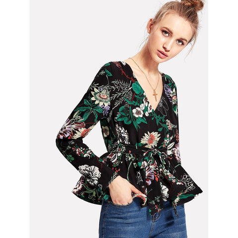 Flower Print Self Belted Blouse