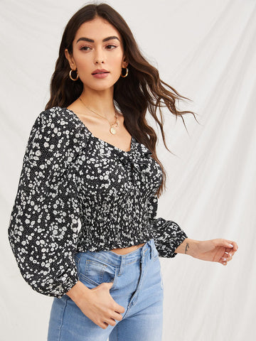 Tie Front Ditsy Floral Shirred Blouse
