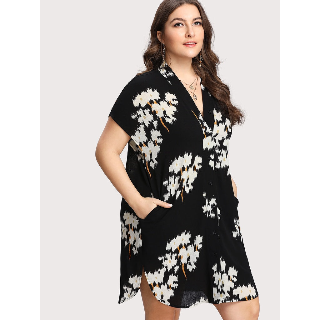 Botanical Print Button Up Shirt Dress - Anabella's