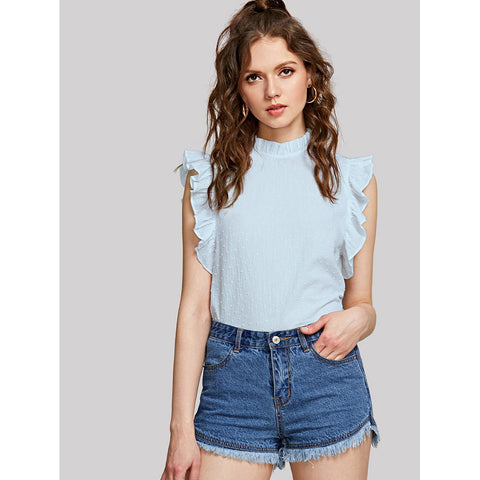 Frilled Dot Jacquard Sleeveless Top