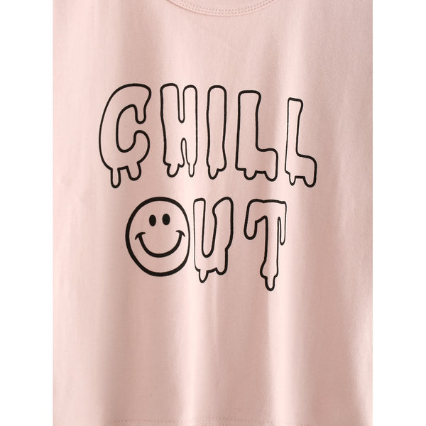 Slogan Print Tee CHILL OUT - Anabella's