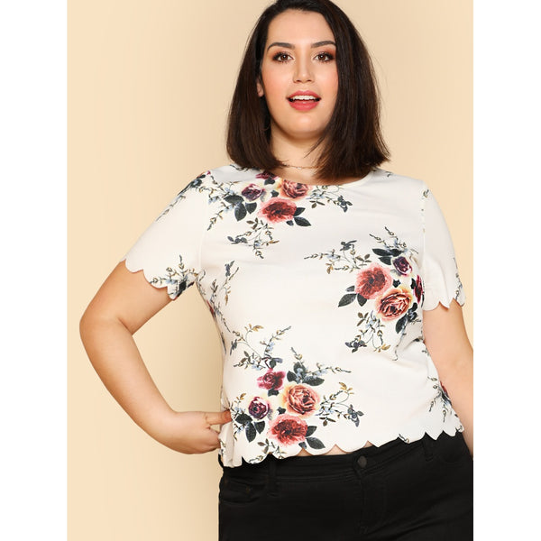 Scallop Trim Floral Top - Anabella's