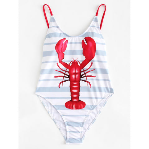 Lobster Print Striped Swimsuit