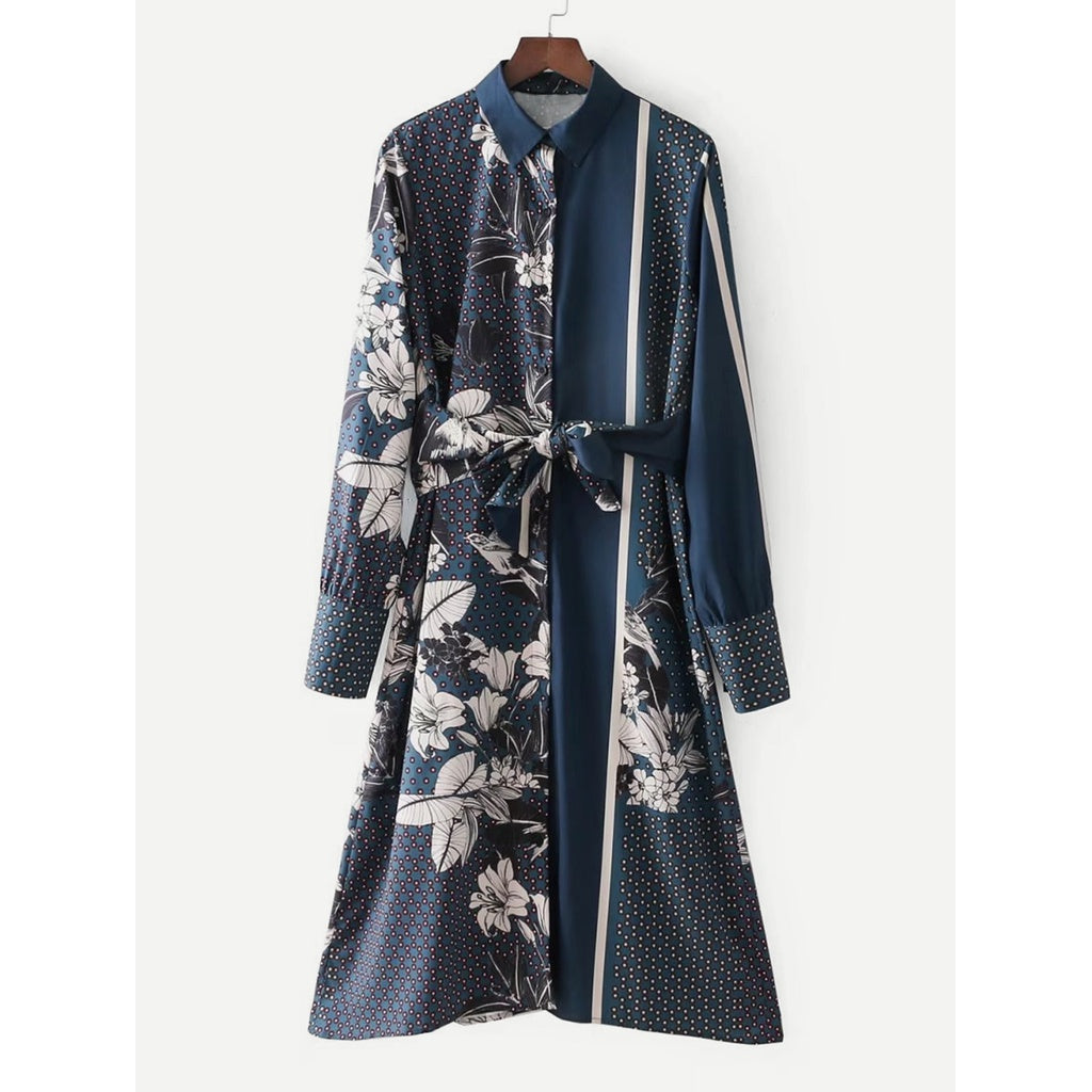 Knot Front Florals Shirt Dress