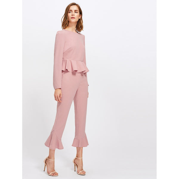 Bell Sleeve Peplum Top And Tailored Ruffle Hem Pants Set