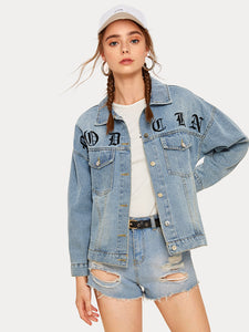 Letter & Floral Embroidery Denim Jacket