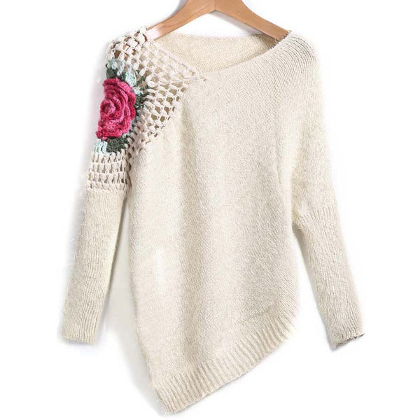 Apricot Round Neck Floral Crochet Loose Sweater