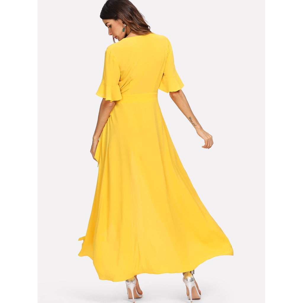e4c0eb481c ... Bell Sleeve Buttoned V-Neck Wrap Dress Yellow ...