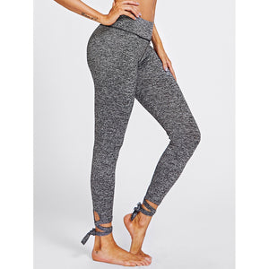 Lace Up Hem Marled Knit Leggings