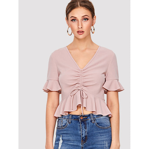 Shirred Drawstring Front Ruffle Top