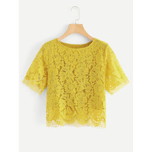 Solid Flower Lace Top